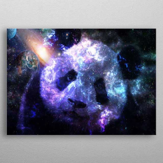 Perfect Gift for everyone who loves Panda and galaxy colors. metal poster