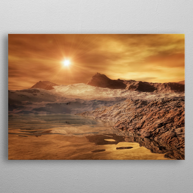 A spacescape on a strange planet metal poster