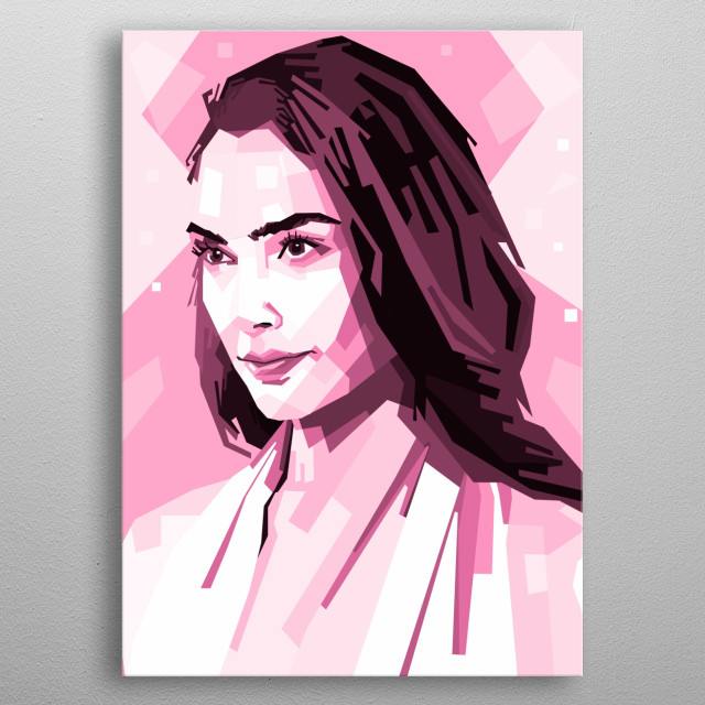 portrait from actrees and model gal gadot. its style popart with pink colour metal poster
