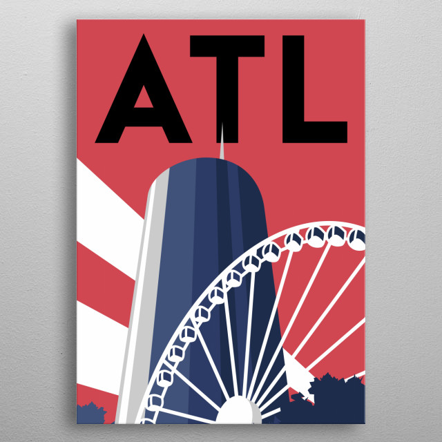 At the base of the Westin Peachtree Plaza in Atlanta, Georgia, sits the SkyView Ferris wheel.  metal poster