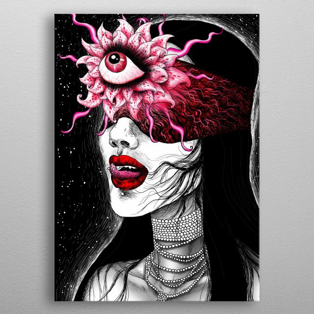 Digital ilustration from my dark macabre surreal erotica series. More tamed one, inspired by vamps and space. metal poster