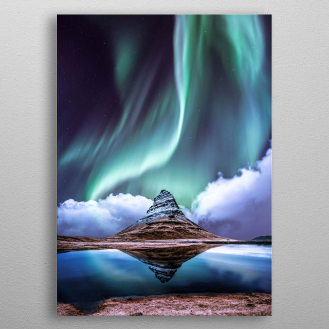 Aurora over mountain peak metal poster
