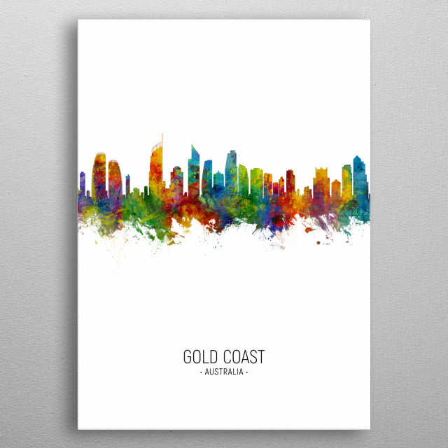 Watercolor art print of the skyline of Gold Coast, Australia metal poster