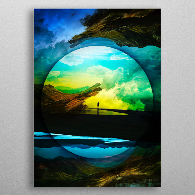 A surreal landscape vision of a Sphere Reality metal poster