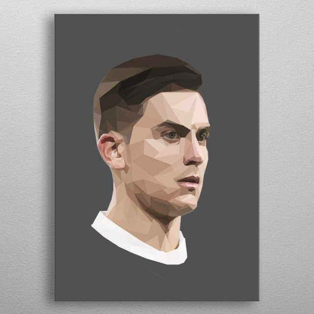 this is a lowpoly paulo dybala design and he is a famous soccer player metal poster