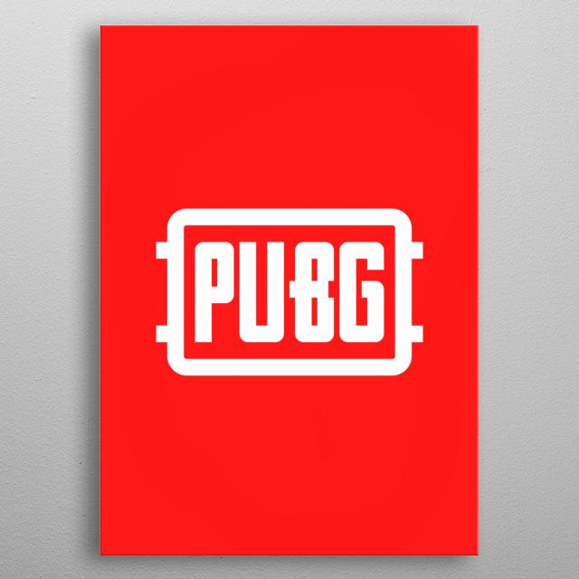 red & white pubg logo metal poster