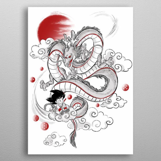 Dragonball sketch illustration. metal poster
