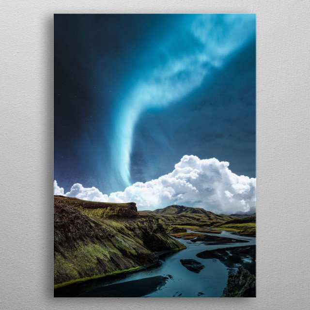 Blue aurora over the river metal poster