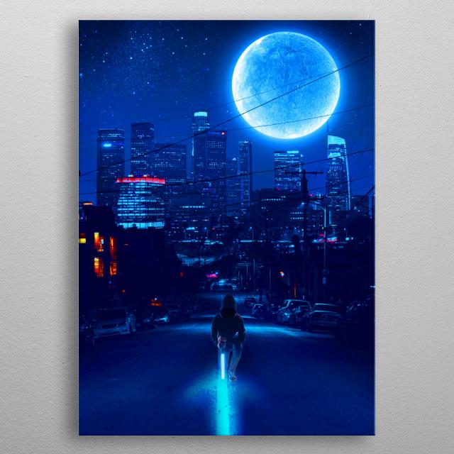 Man on Sword 2077 inspired metal poster