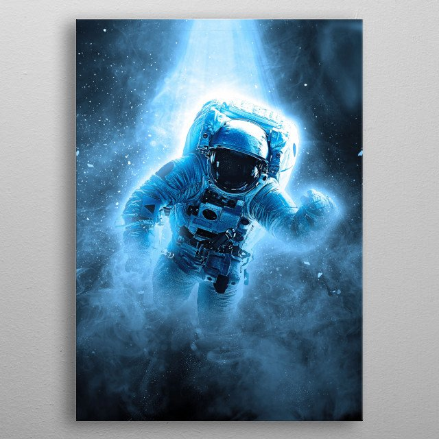 An astraunot saying Hi! from space metal poster
