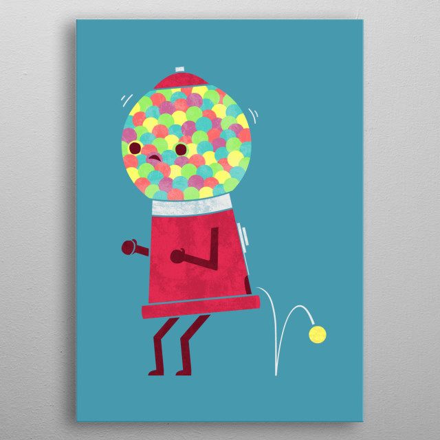 Gumball machines can't hold it in forever. metal poster