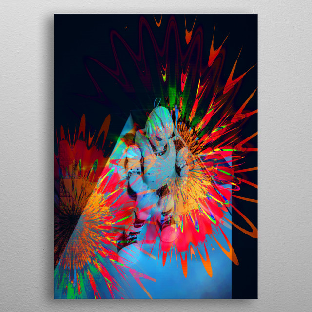 Fractal design of music and light vibrations with a dancing robot. metal poster