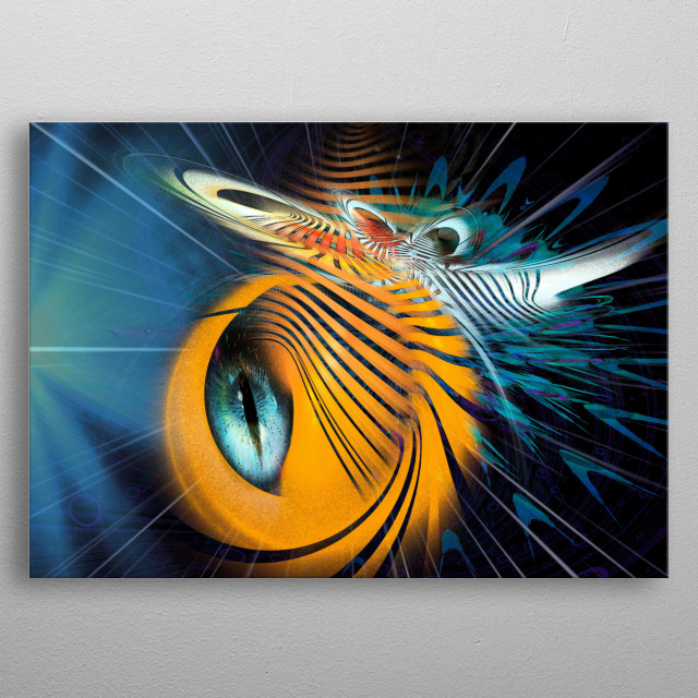 Telepathic possibilities of insects from other planets. Fractal art.  metal poster