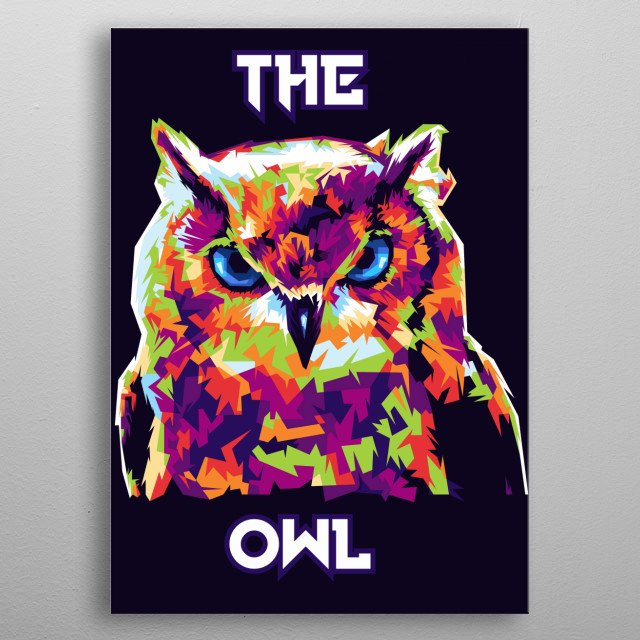 illustration owl with wedhas pop art portrait metal poster