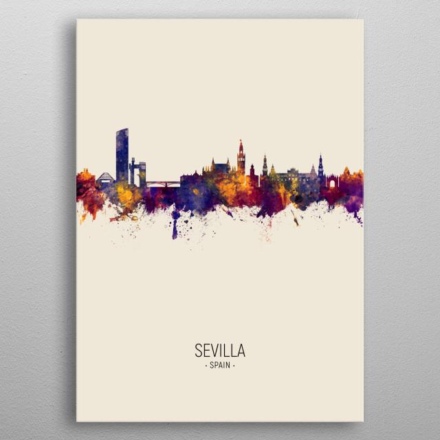 Watercolor art print of the skyline of Sevilla, Spain metal poster