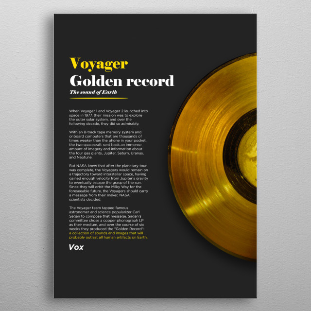 Some information about Voyager - The Golden Record. metal poster