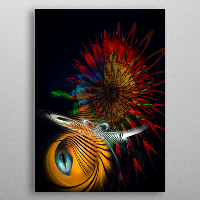Insect invader emissary detects human information. Fractal art, science fiction. metal poster