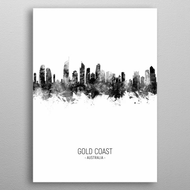 Watercolor art print of the skyline of Gold Coast, Australia metal poster