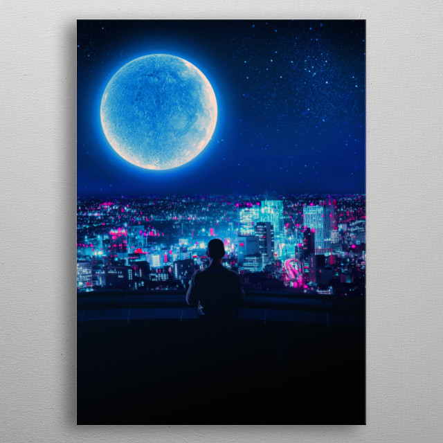 Moon 2077 inspired metal poster