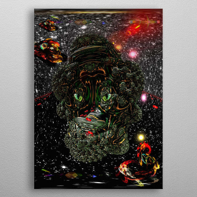 Jolly Roger - Space haven for pirates. Science Fiction - 3D illustration. metal poster