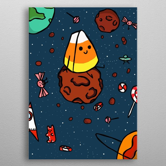 #JAN9  it's a corn candy that's siting on a  spatial  rock.  metal poster