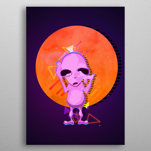 A cute alien crying metal poster