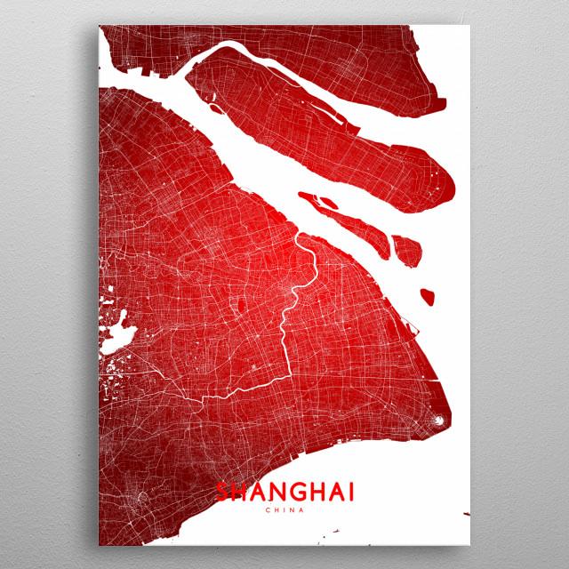 Shanghai map (english) metal poster