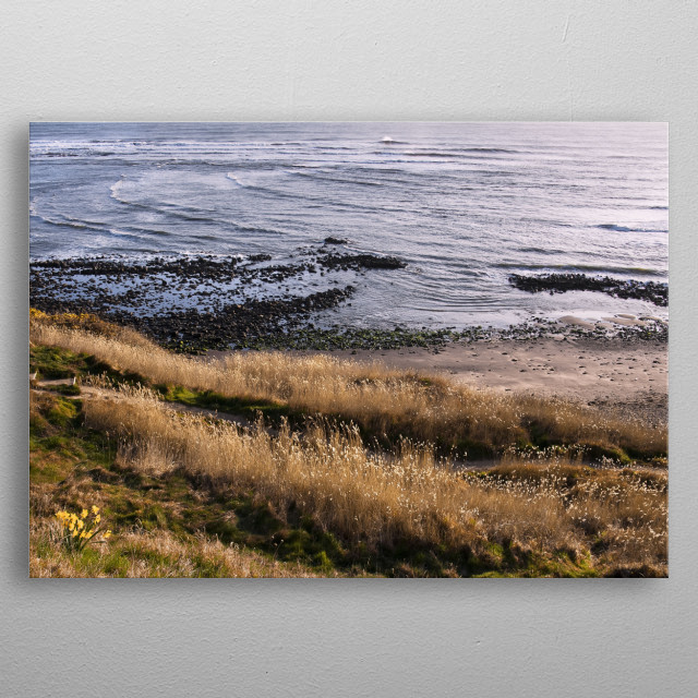 Coast of a North Sea in Yorkshire, UK metal poster