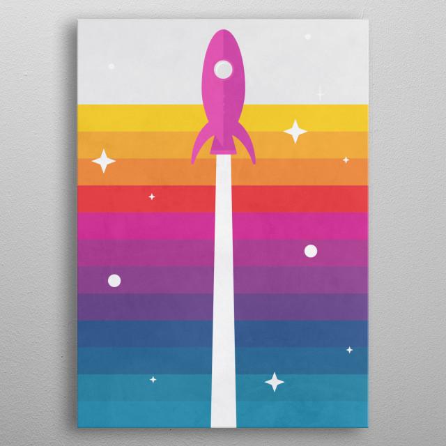 The Space Rocket Retro Illustration  metal poster