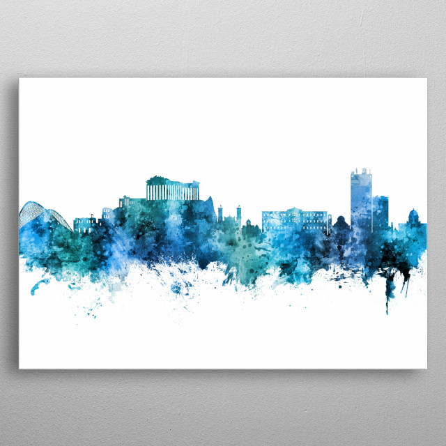 Watercolor art print of the skyline of Athens, Greece metal poster