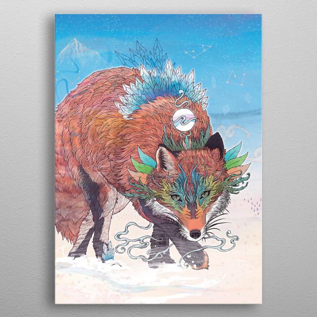 Spirit Fox illustration metal poster