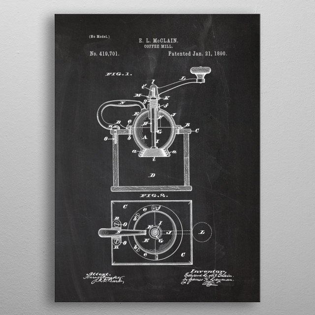 1890 Coffee Mill - Patent Drawing metal poster
