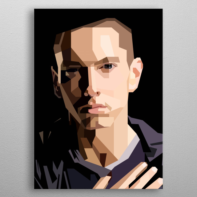 This artwork is inspired by the most popular rapper in the world, Eminem. metal poster