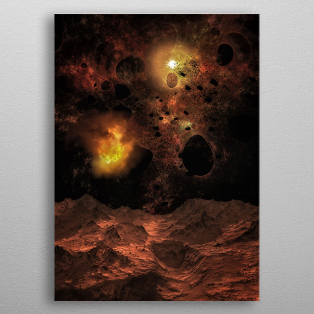 Some places of universe are not quite. Fire, heat and explosions give us an exemple of the strenght of space metal poster