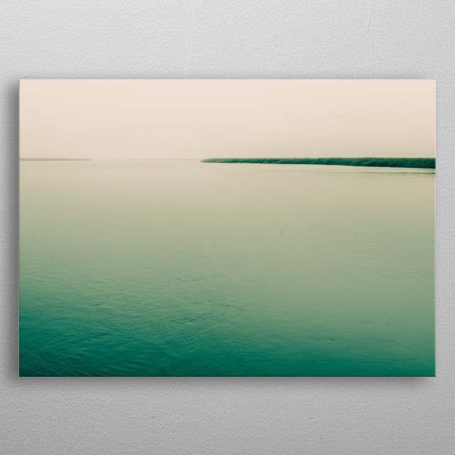 Moody ethereal sea photograph by Olivia St.Claire. metal poster
