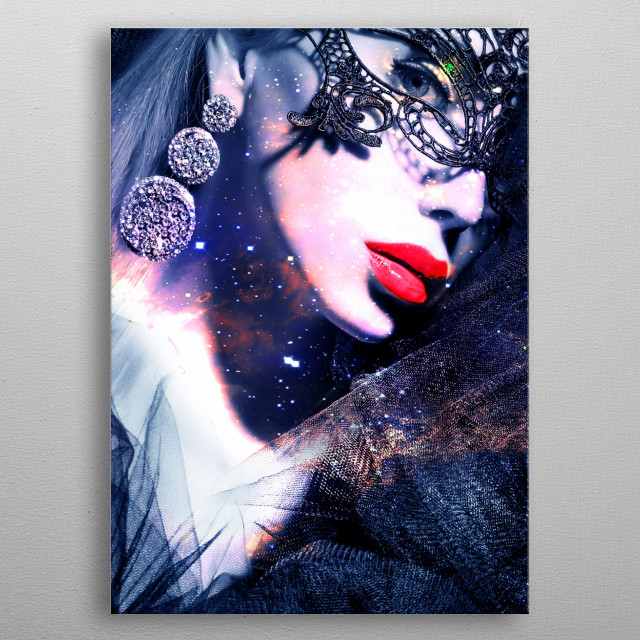 Woman in a mask metal poster