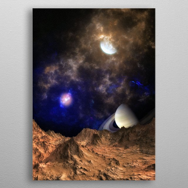 A trip through the deep space, a spacescape on a strange planet metal poster