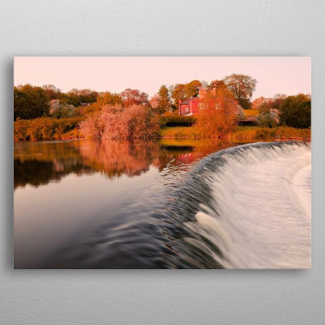 Forest river landscape metal poster