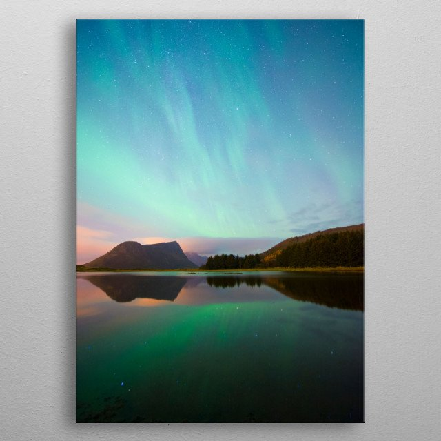 norway light on lofoten metal poster