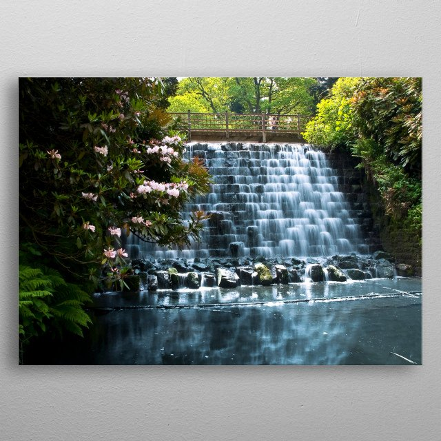 River Cascade in a park metal poster