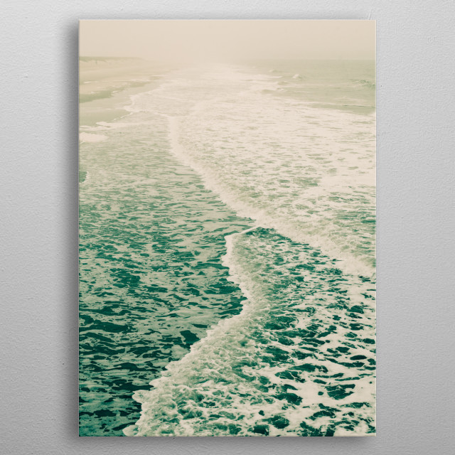 Wandering along a foggy beach on an autumn day - happiness. metal poster