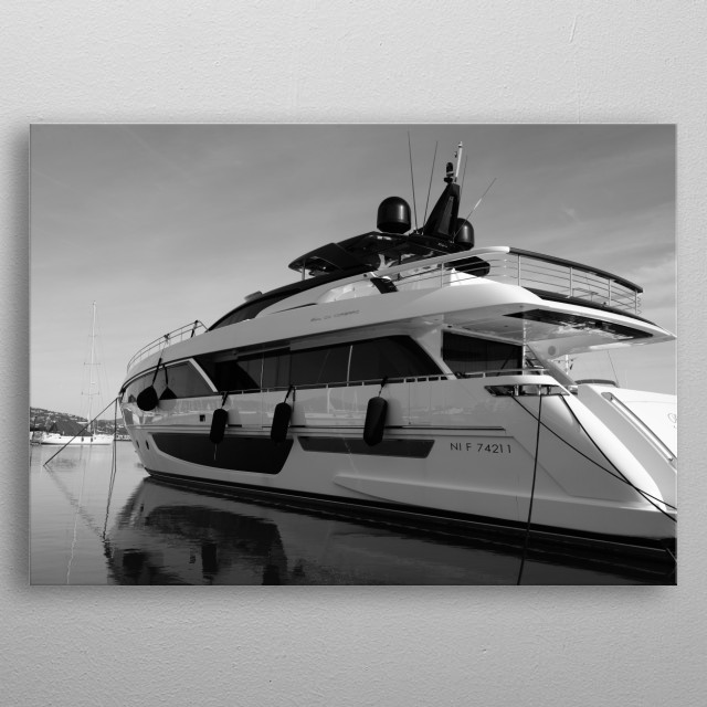 """Riva Corsaro 100"", Raph Seven by Tom Vandenhende Saint-Tropez.  Port : ""Marines de Cogolin"" - from Riviera Art Saint-Tropez collection metal poster"