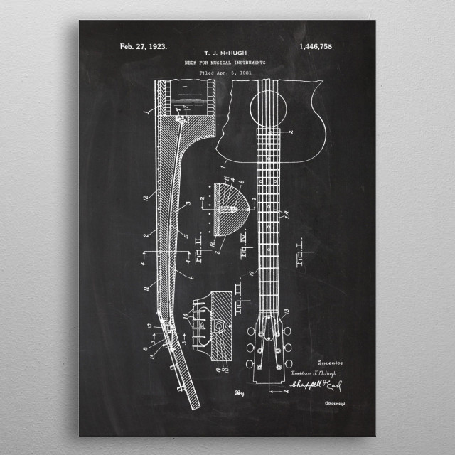 1921 Neck For Musical Instrument - Patent Drawing metal poster
