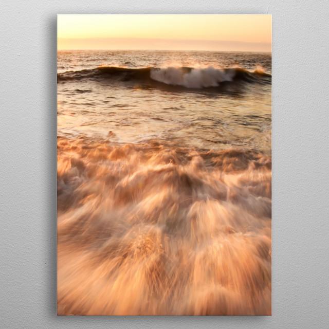 Sea wave splash metal poster