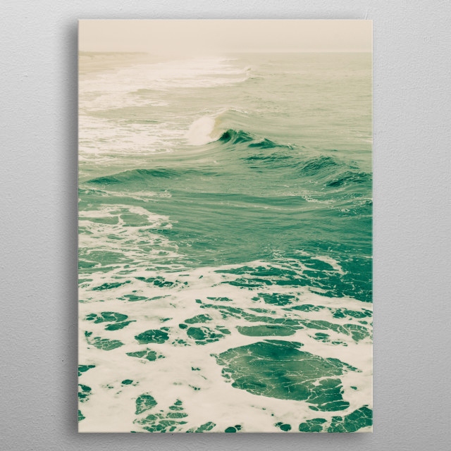Photograph of ocean waves and sea fog on a stormy summer day. metal poster