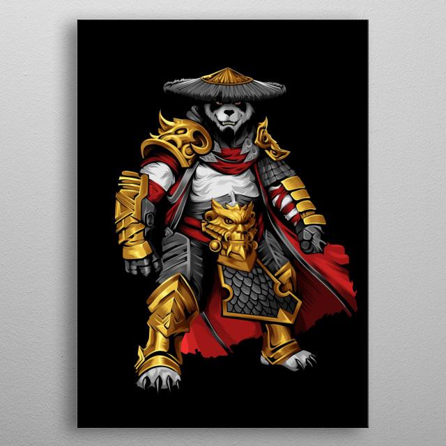 Illustration of the Panda Warrior inspired by Kungfu Panda Movie. metal poster