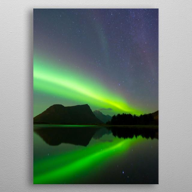 norway light on lofoten metal poster