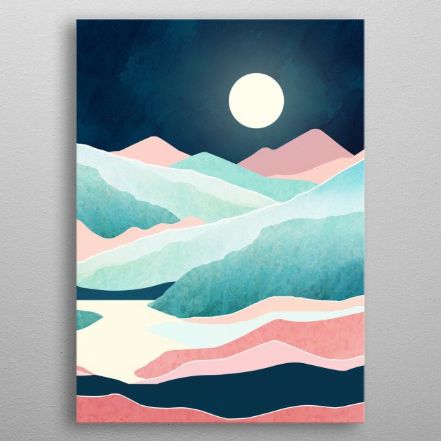 Abstract landscape of a tranquil vista with mountains, lake, coral and blue metal poster