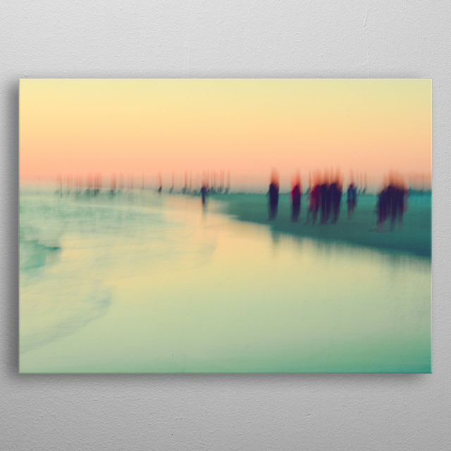 Long exposure abstract photograph of people at a beach by Olivia St.Claire. Shades of pink and aqua. metal poster