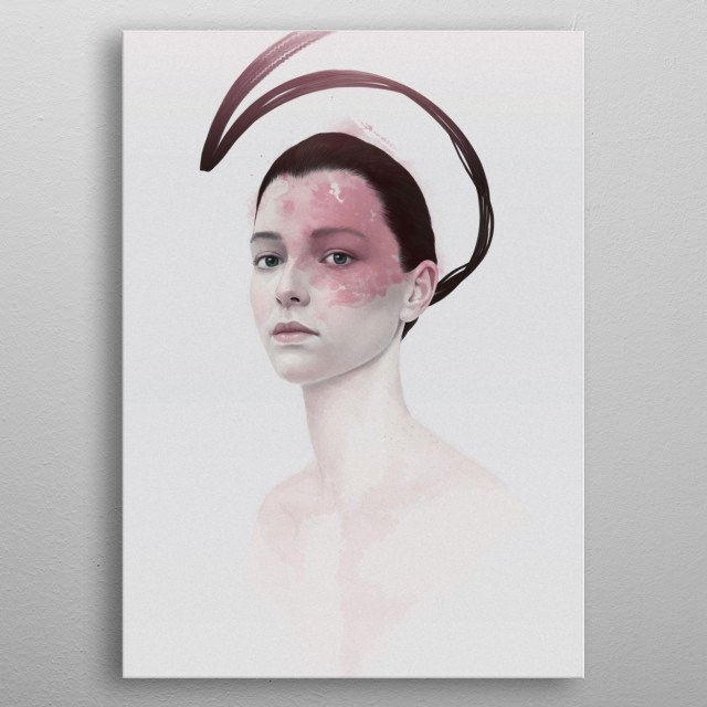 Portrait of a girl with some strange birthmark metal poster